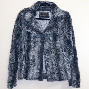 True Grit Silky Faux Fur Collar Jacket Snake SZ M